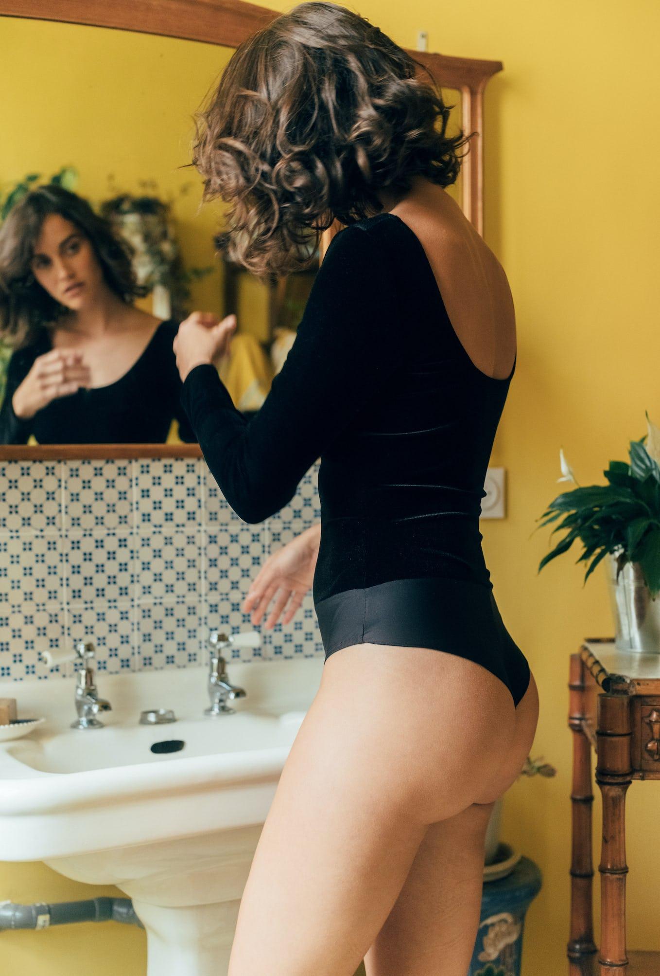 Comédie Francaise bodysuit black velvet