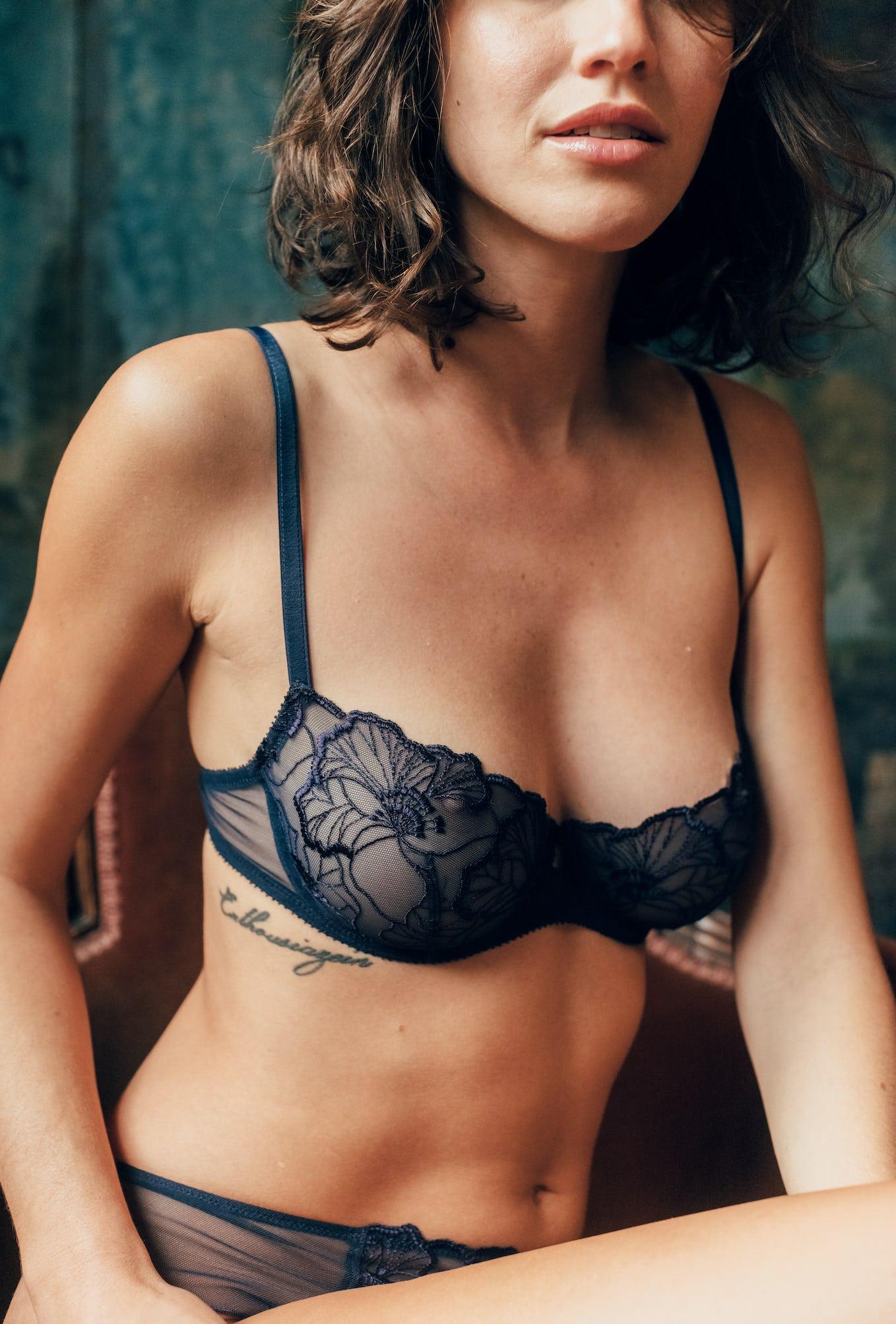 half-cup bra Source d'amour navy blue