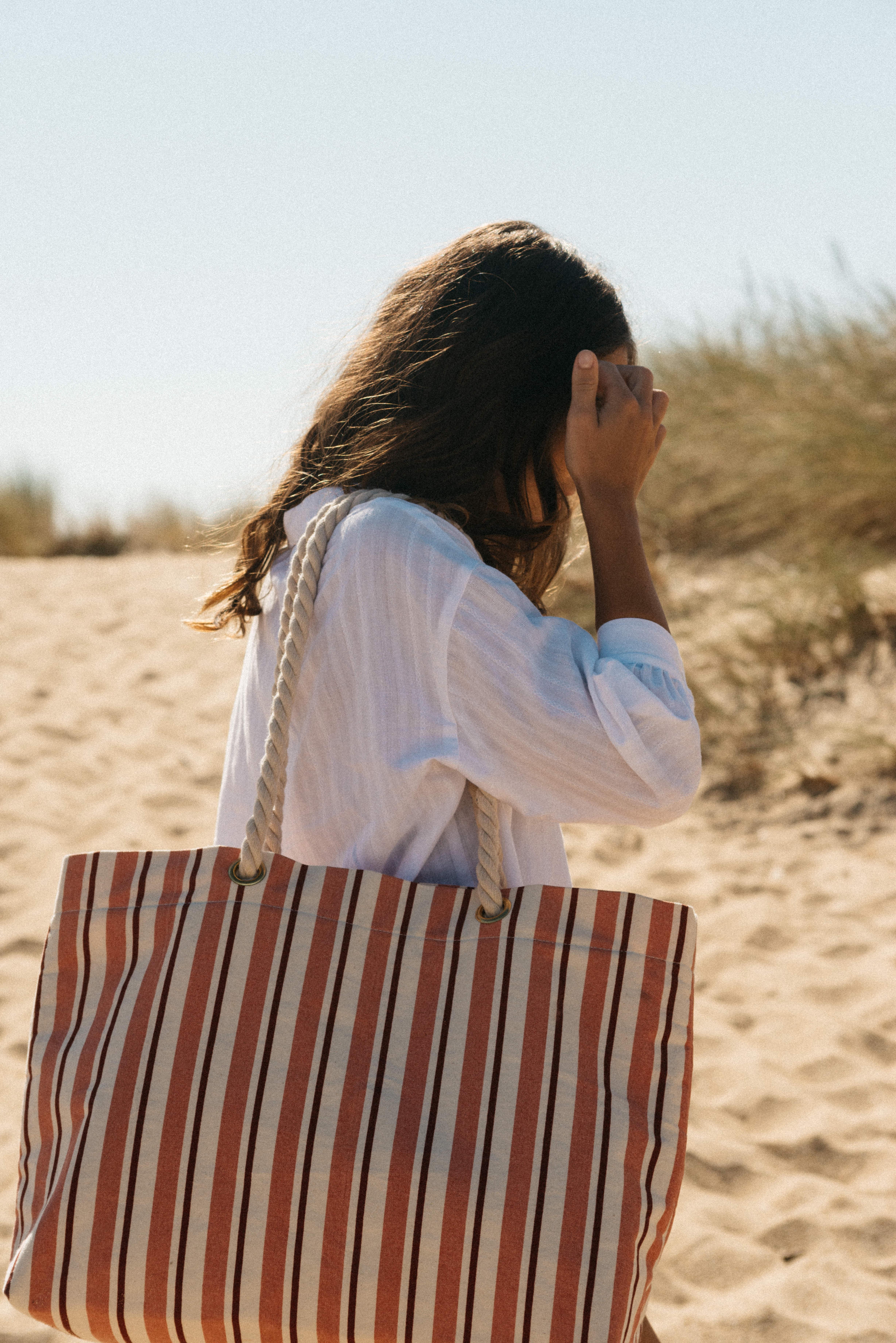 Cabas Balade sur le sable Rayures terracotta
