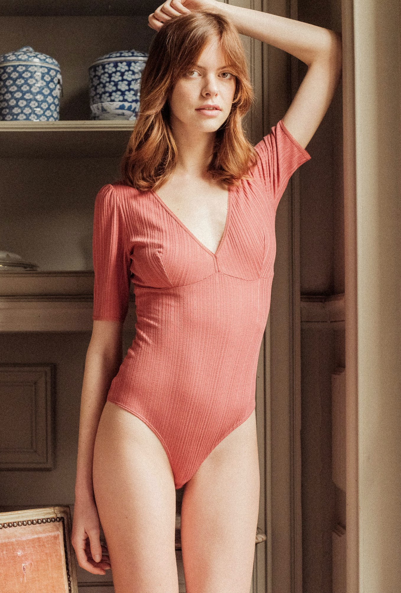 Tamara Bodysuit in tea pink