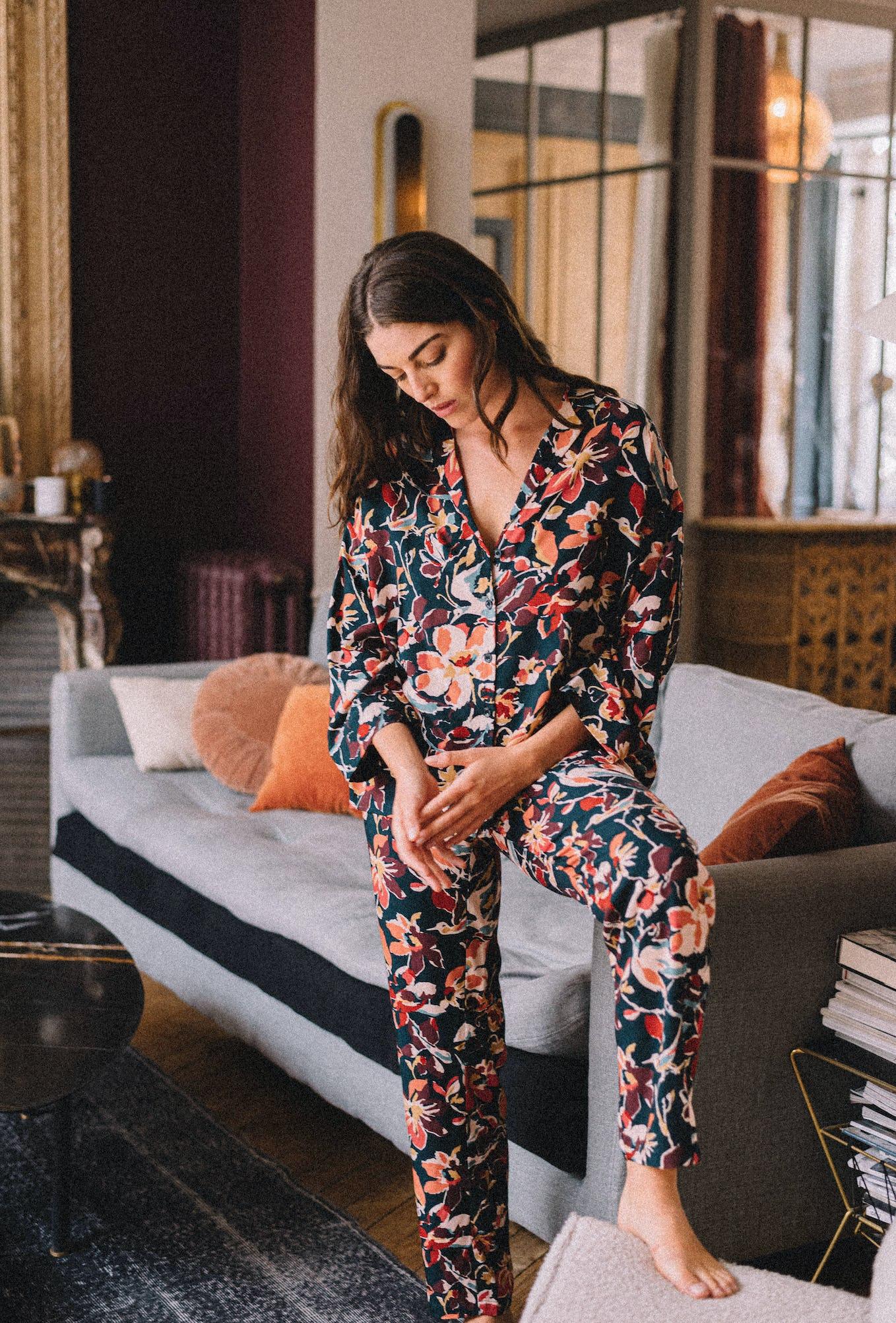 Pyjama set Le chant des oiseaux with birds print
