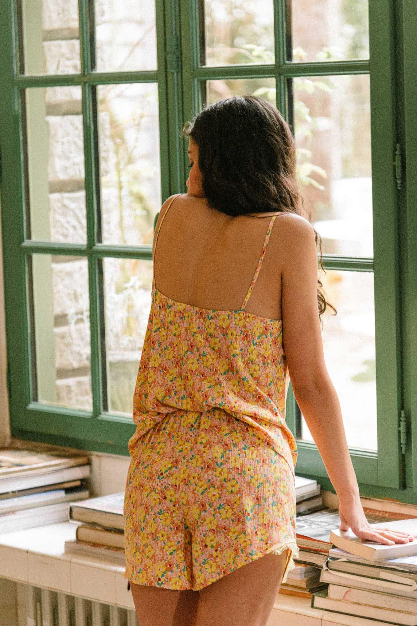 Ensemble de pyjama De beaux rêves imprimé souvenir jaune