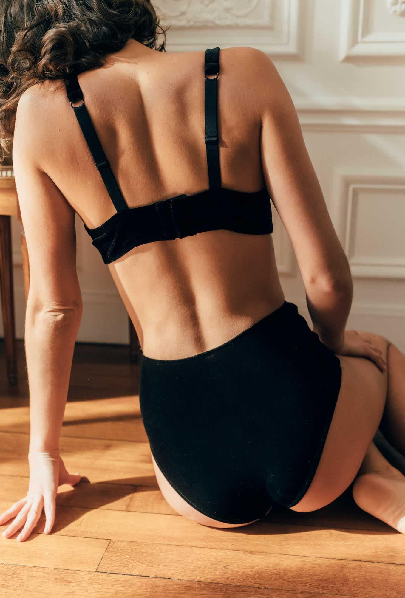 High-waist brief Comédie Française black velvet