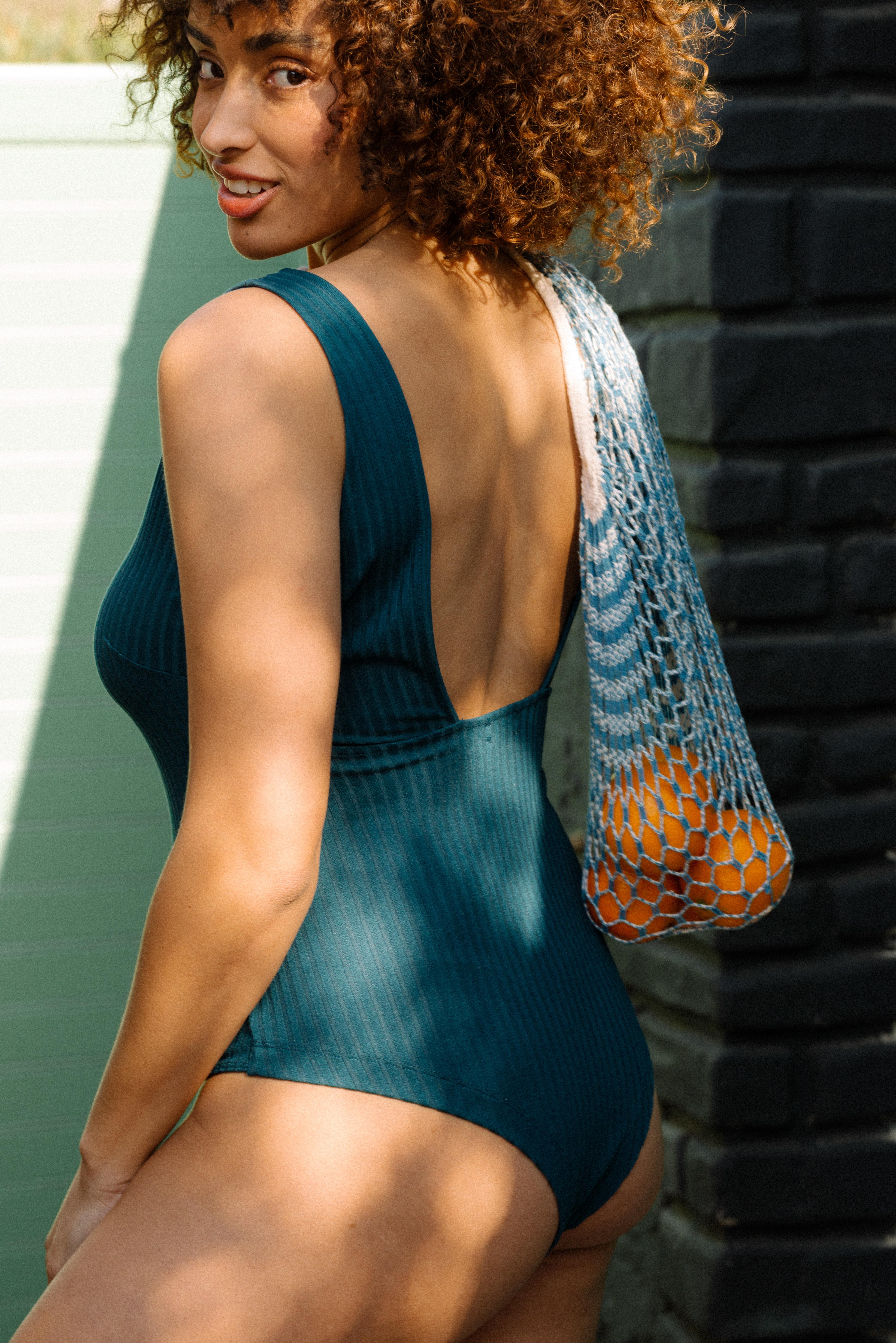 Gaeline bodysuit in duck blue