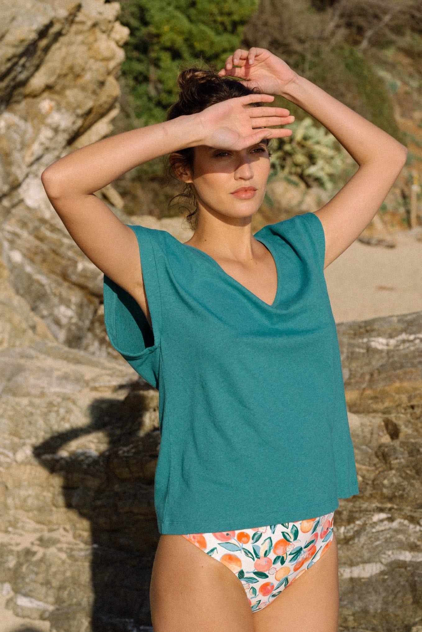 Tee-shirt Balade rêveuse en bleu lagon