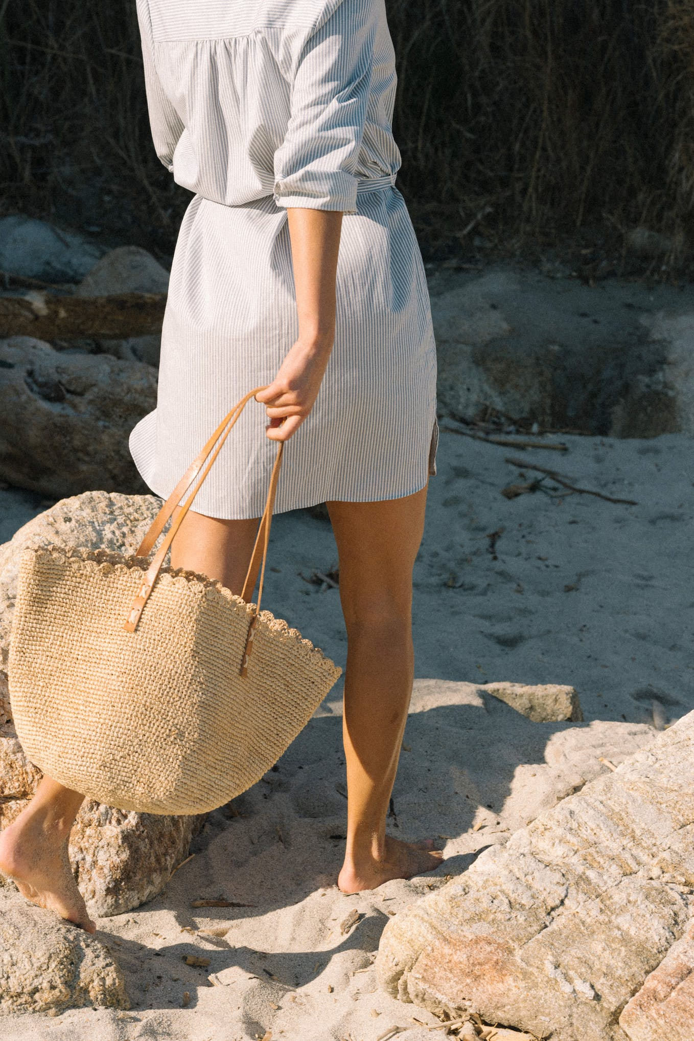 Dress Après la plage stripes denim and ecru