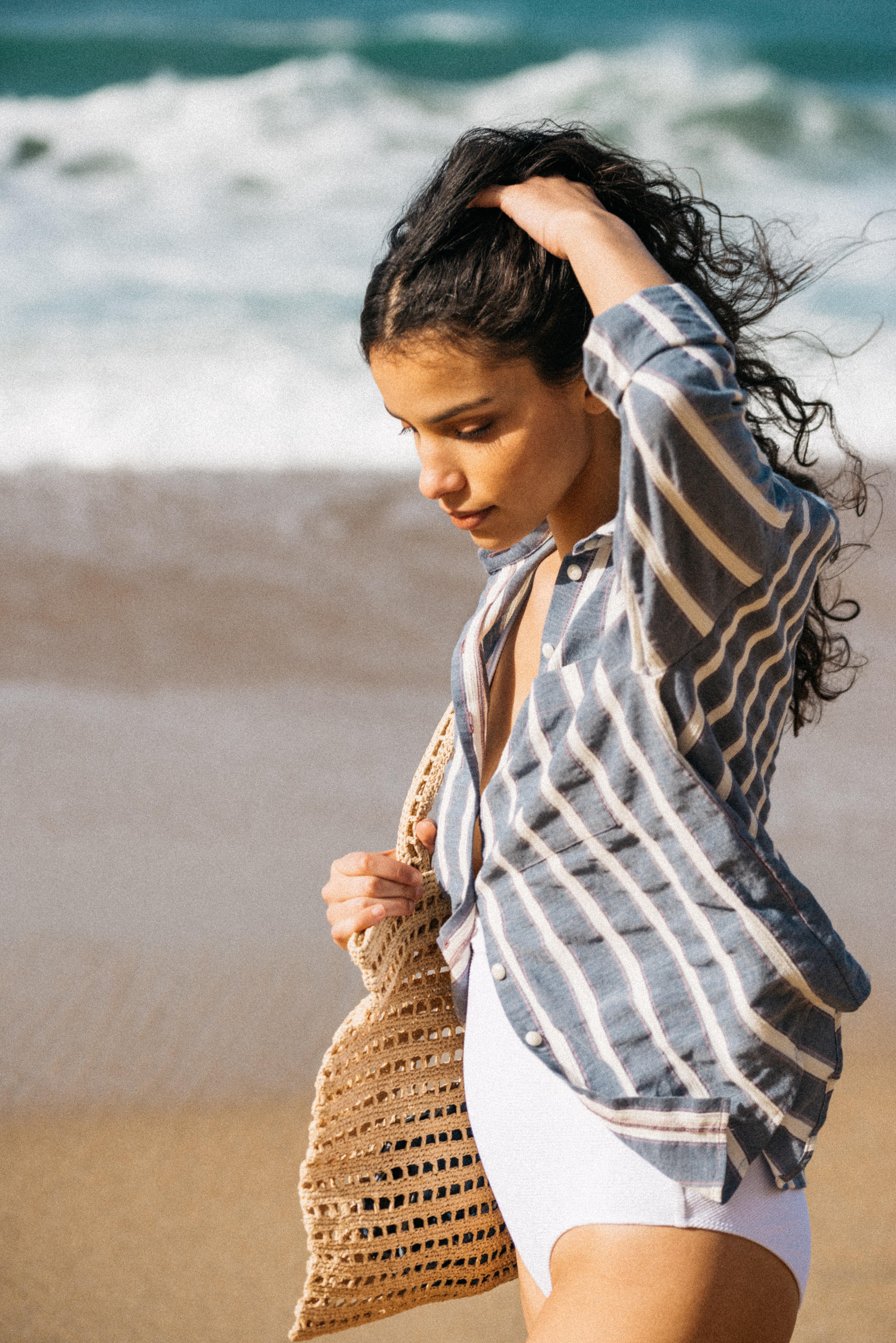 Shirt Doux refuge with blue stripes