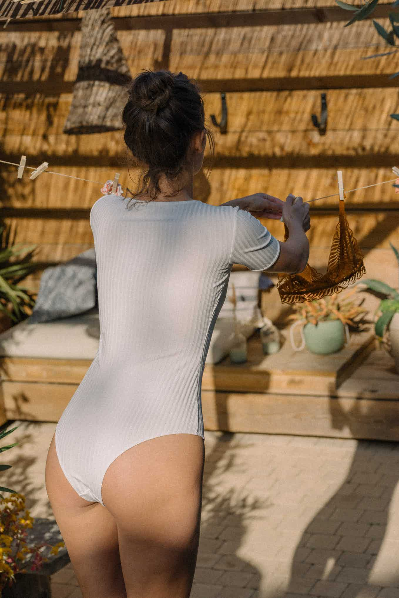 Back view of Gaia Bodysuit in ivory