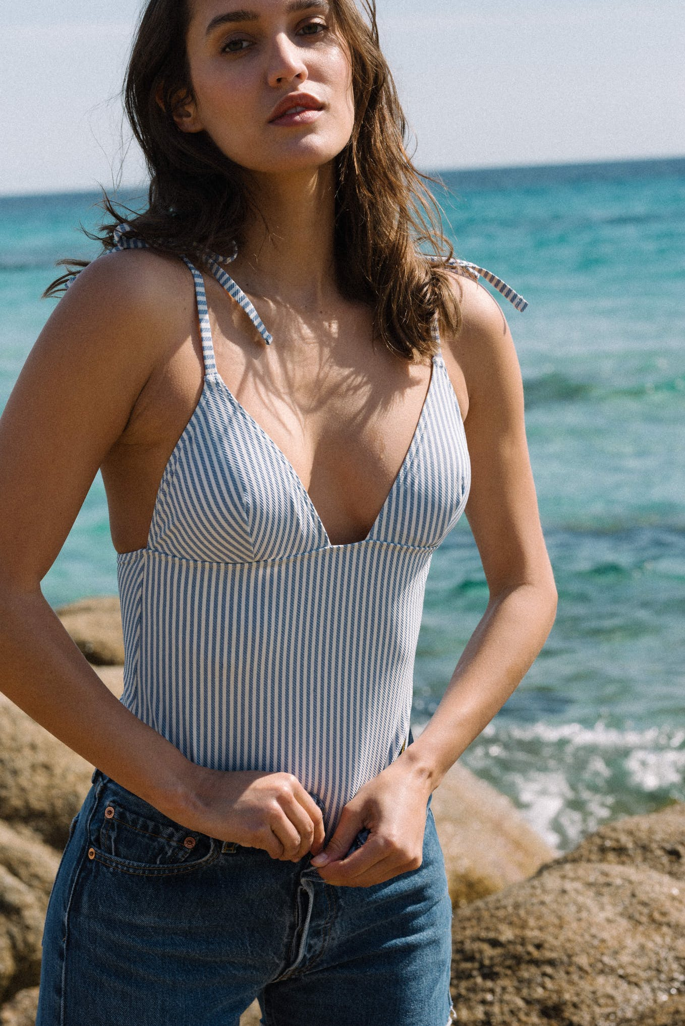 Swimsuit Soleil sur l'eau in denim stripes