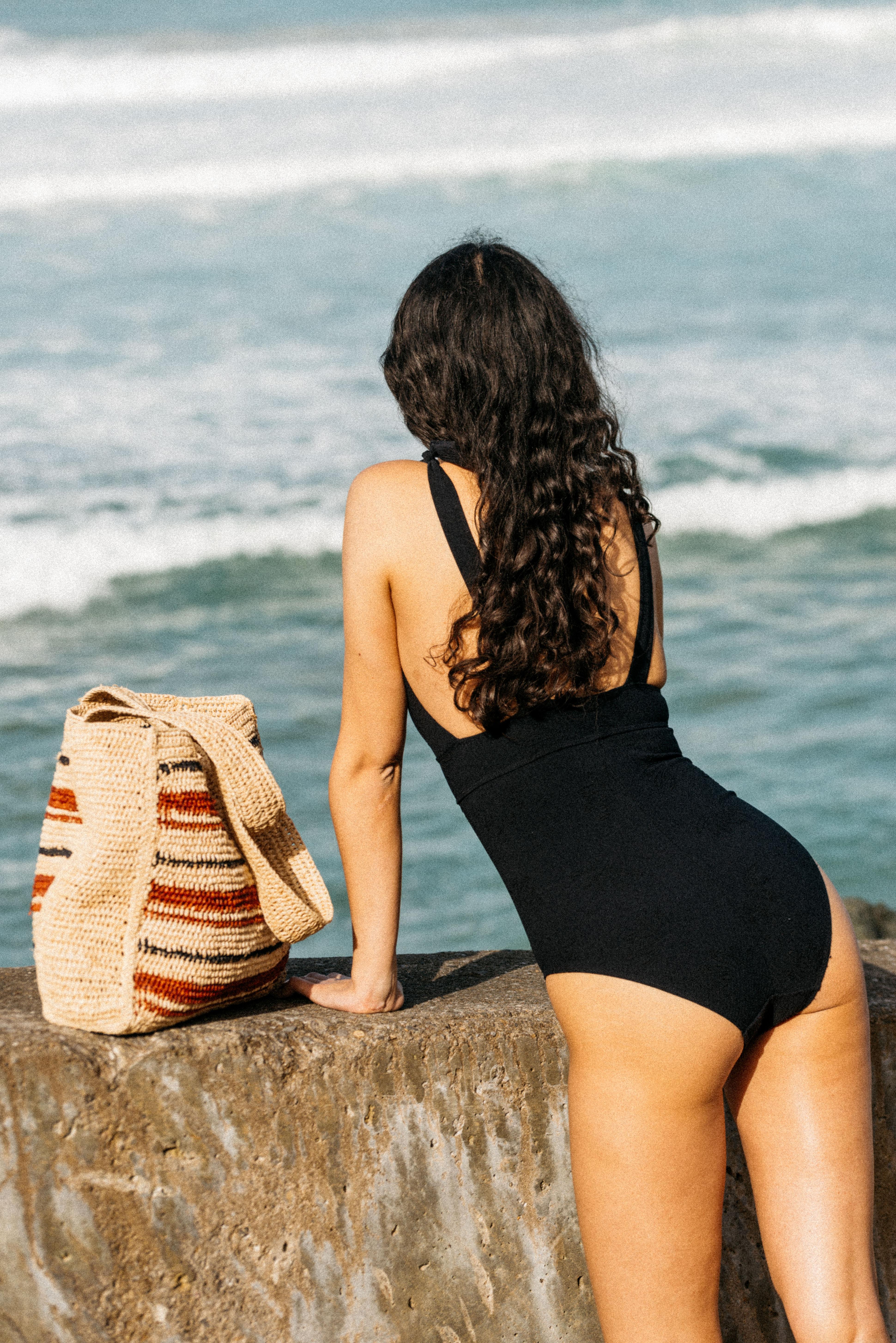 One piece swimsuit Les heures d'été in Black