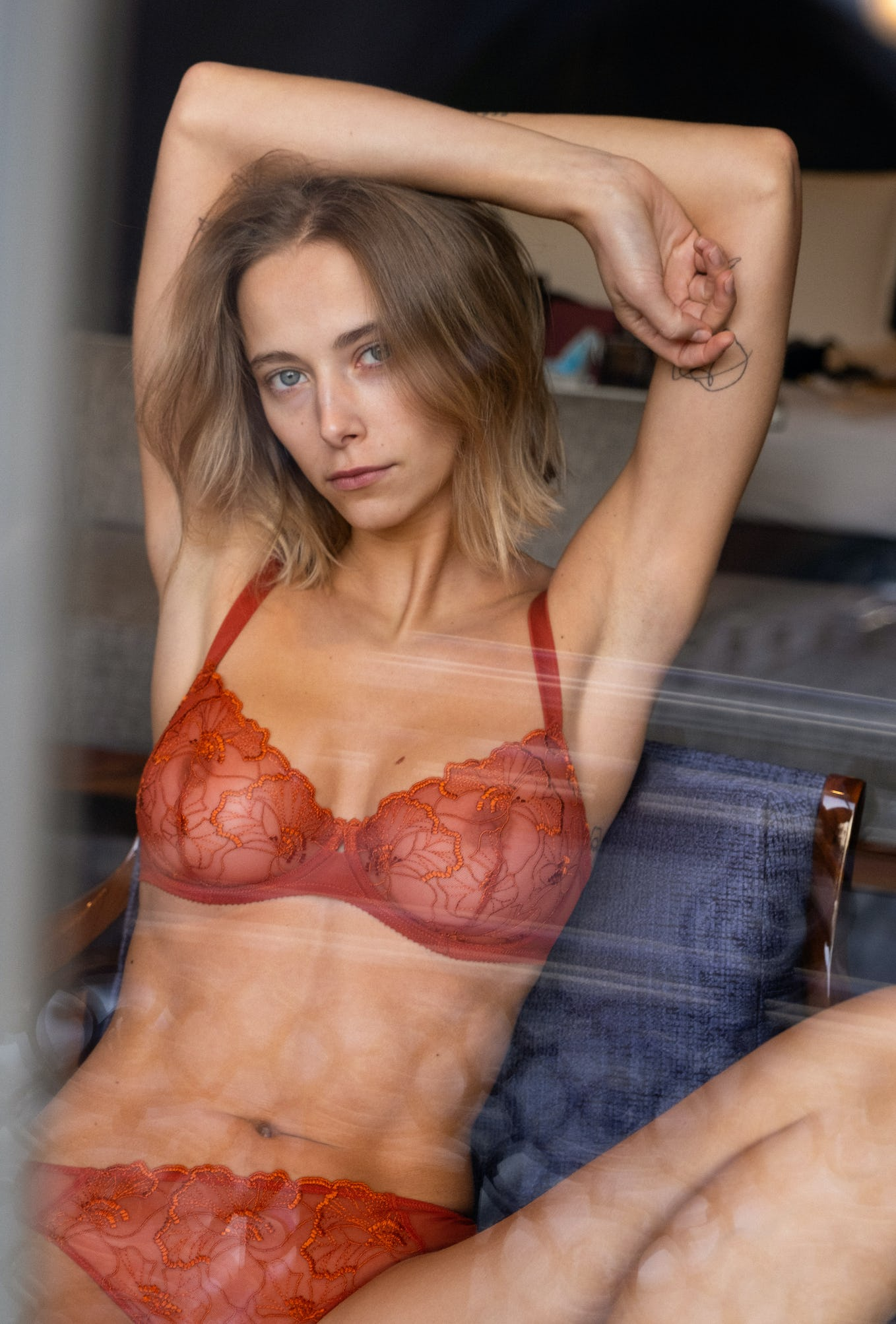 Half-cup bra Source d'amour rusty red