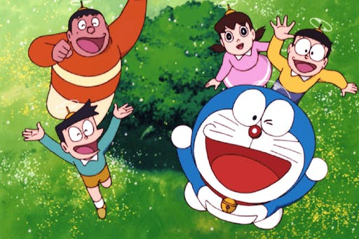 Doraemon hanging out with his friends