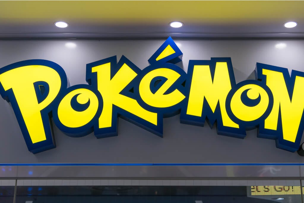 A sign infront of the Pokemon center in Tokyo Japan