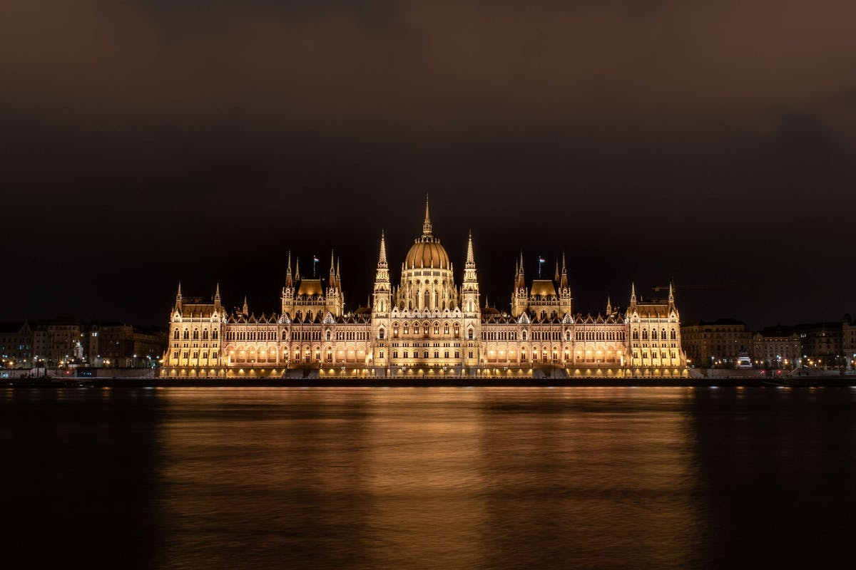 Photo of the Hungarian Parliament in Budapest, standing on the river bank