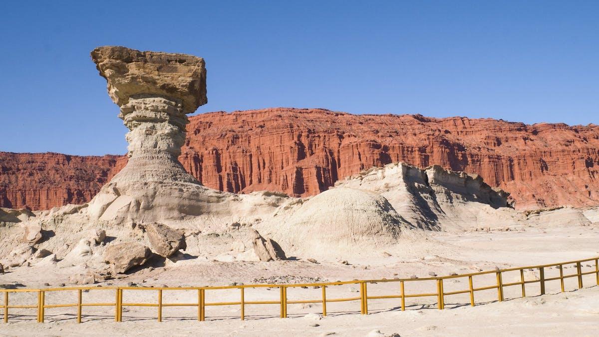 Deserted and rocky landscape, orange color