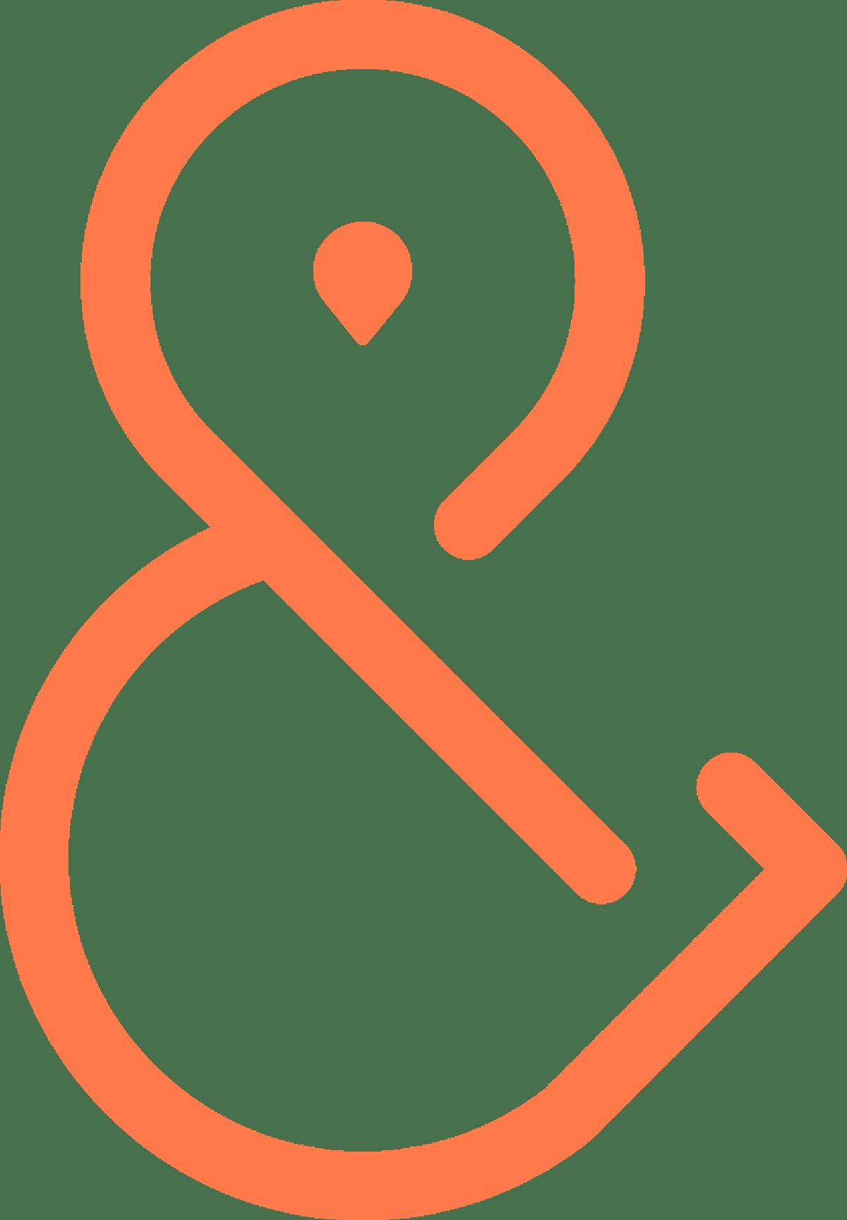 "Symbole ""l'esperluette"" orange de YUPWEGO. Copyright YUPWEGO SAS."