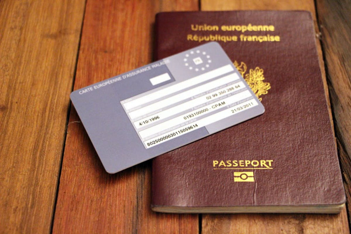 View on the European Health Insurance Card and a passport