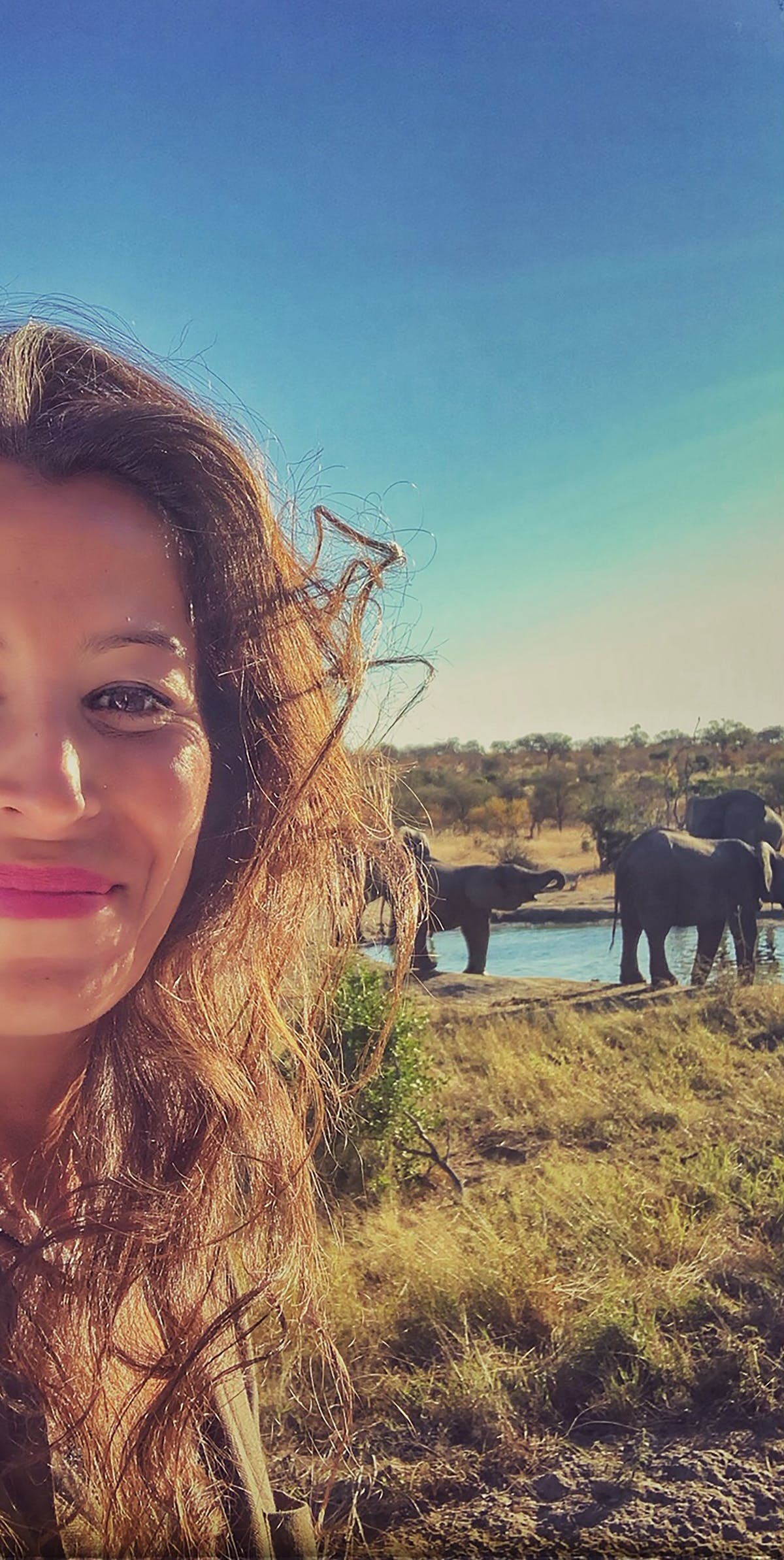 Aida and the elephant calves of the Kruger Park   - Photo by Douda Bis - Aïda Ettayeb.