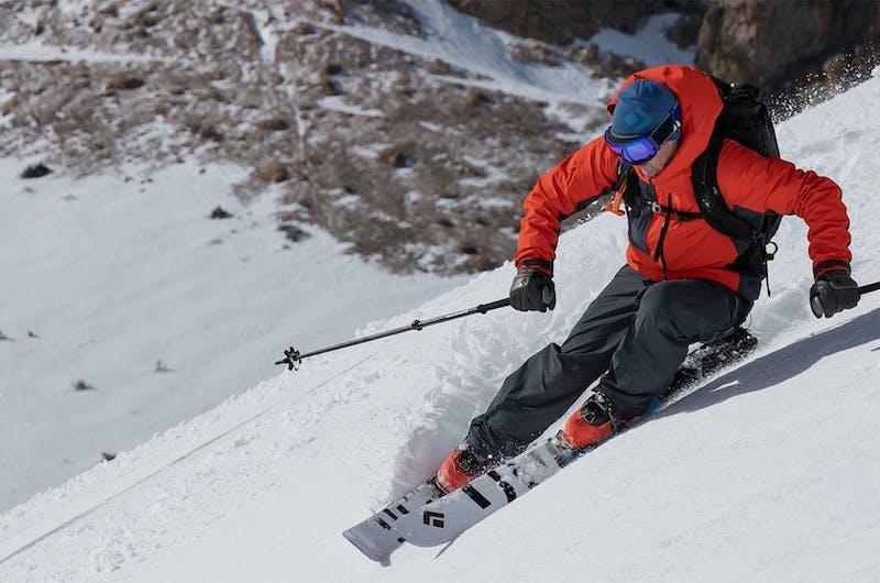 Man skiing using Black Diamond gear
