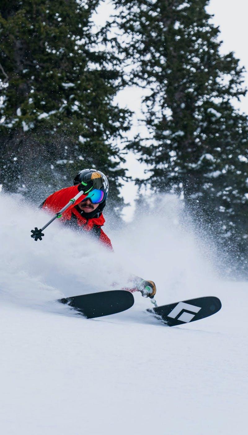 Man skiing on Black Diamond skis