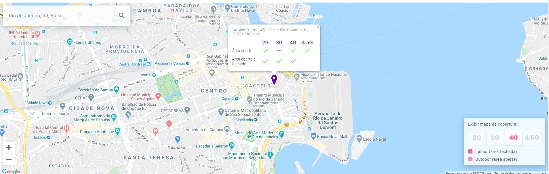 Exemplo do mapa de informação da cobertura vivo 2G, 3G, 4G e 4.5G