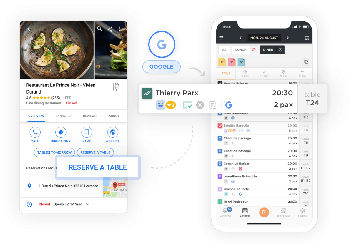 A booking made through Google My Business is displayed on the Zenchef platform
