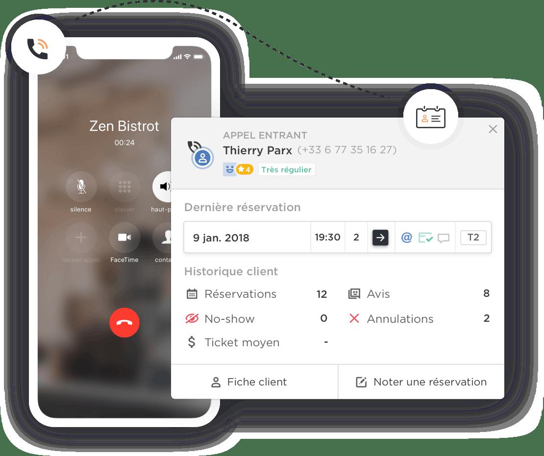 Les informations du client qui appelle sont affichées sur le module Zenchef