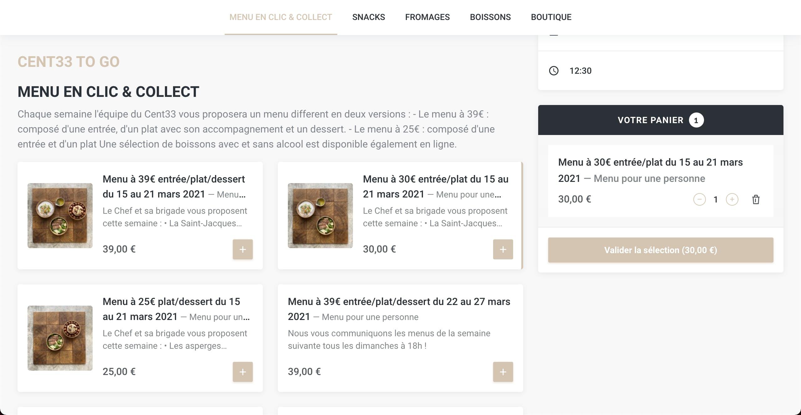 Module de commande en ligne - Click and Collect