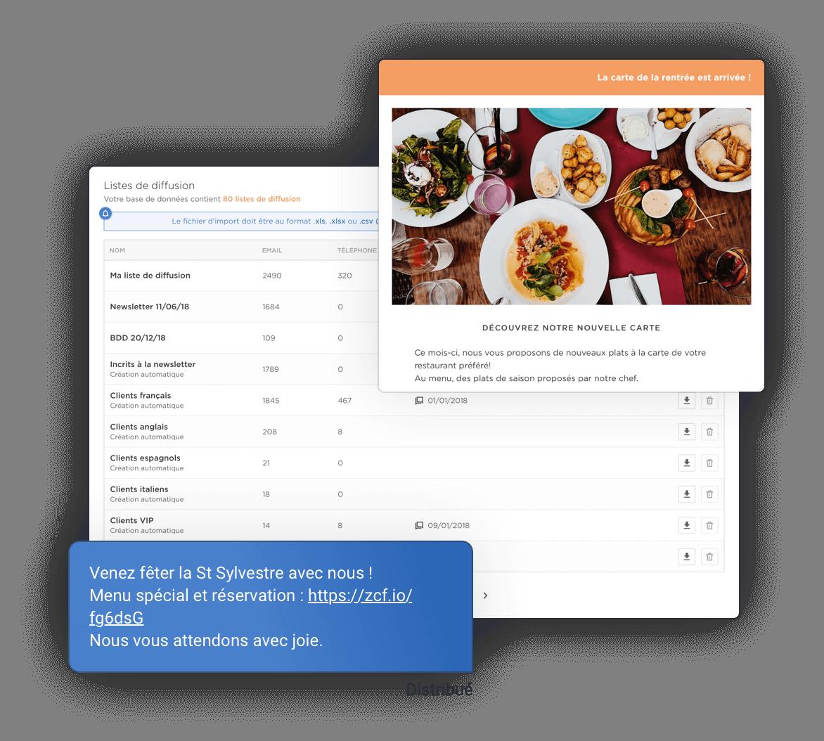 Les thèmes prédéfinis de sms et de newsletter sur la liste segmentée des clients