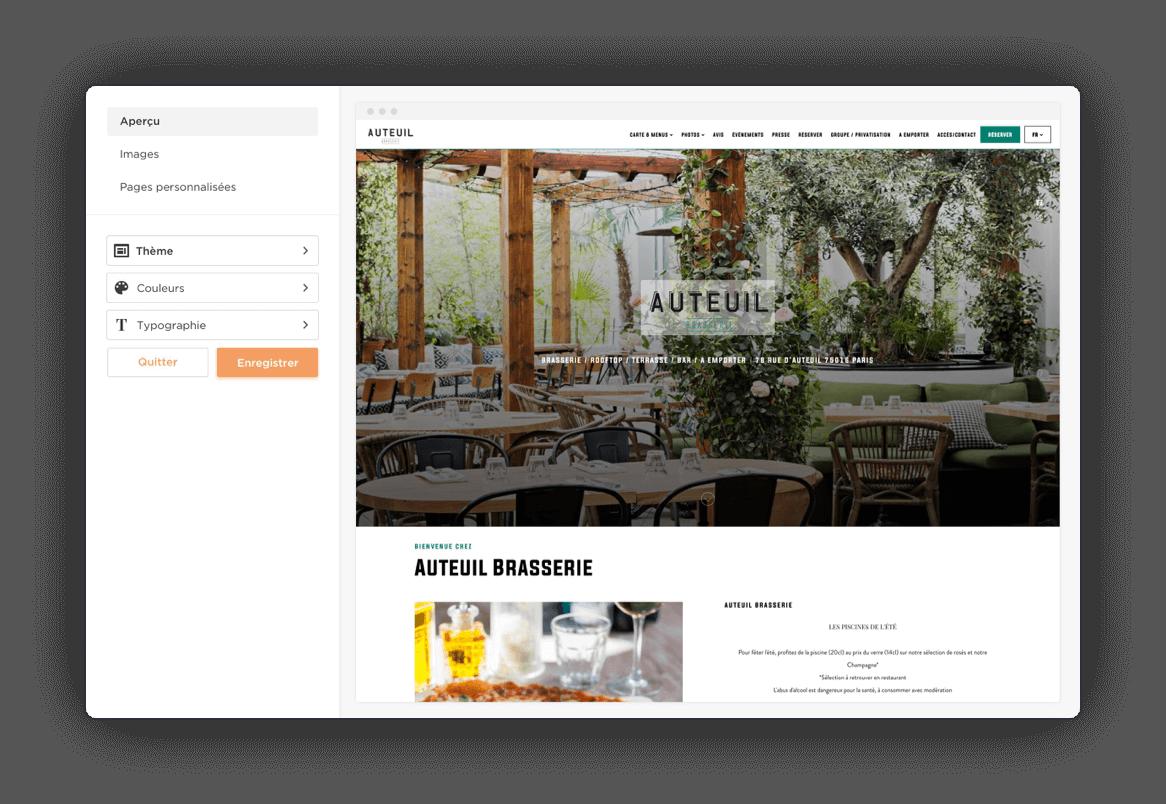 Logiciel de création de site web pour restaurant