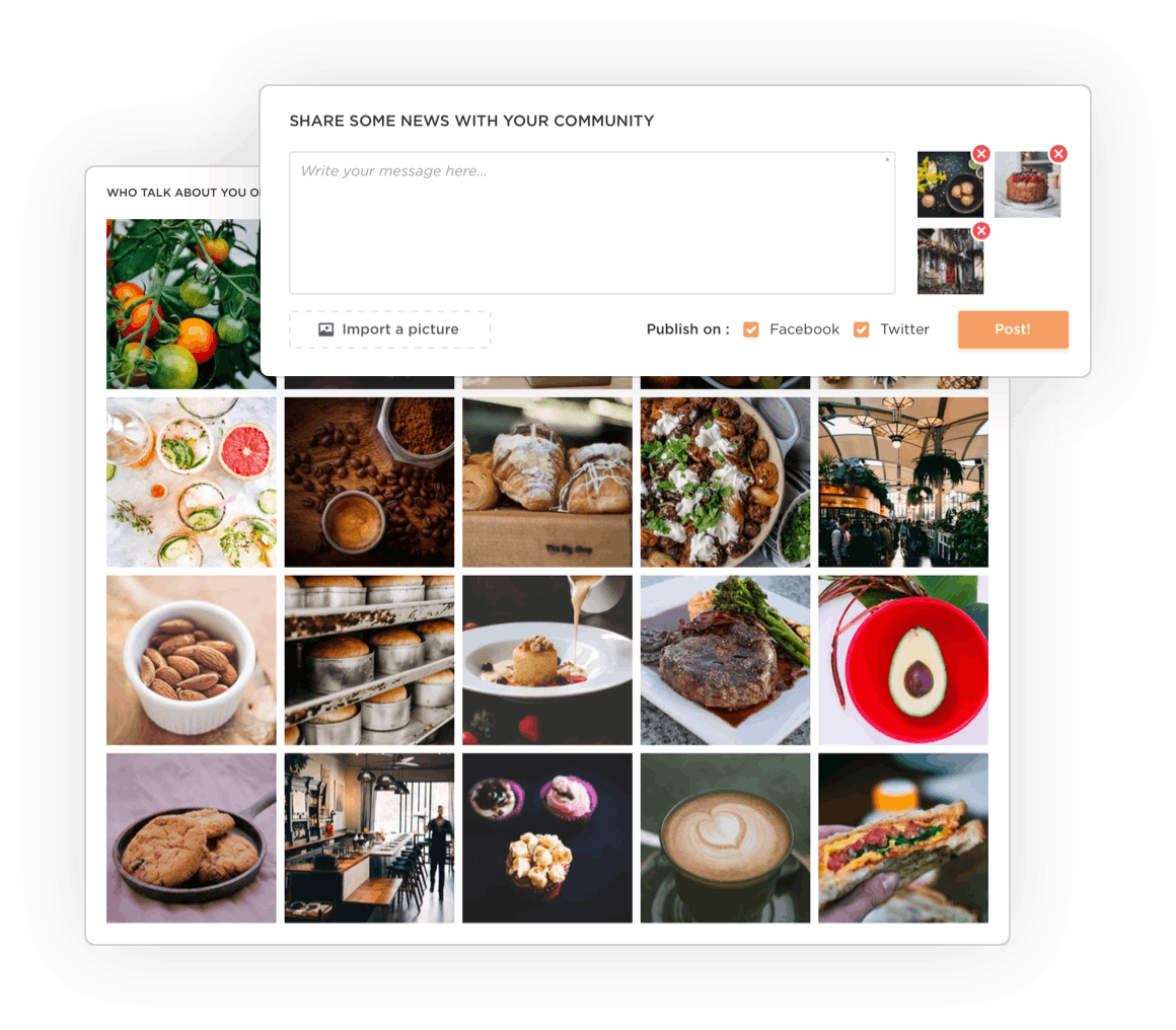 The pictures of your restaurant your guests took displayed on the Zenchef platform