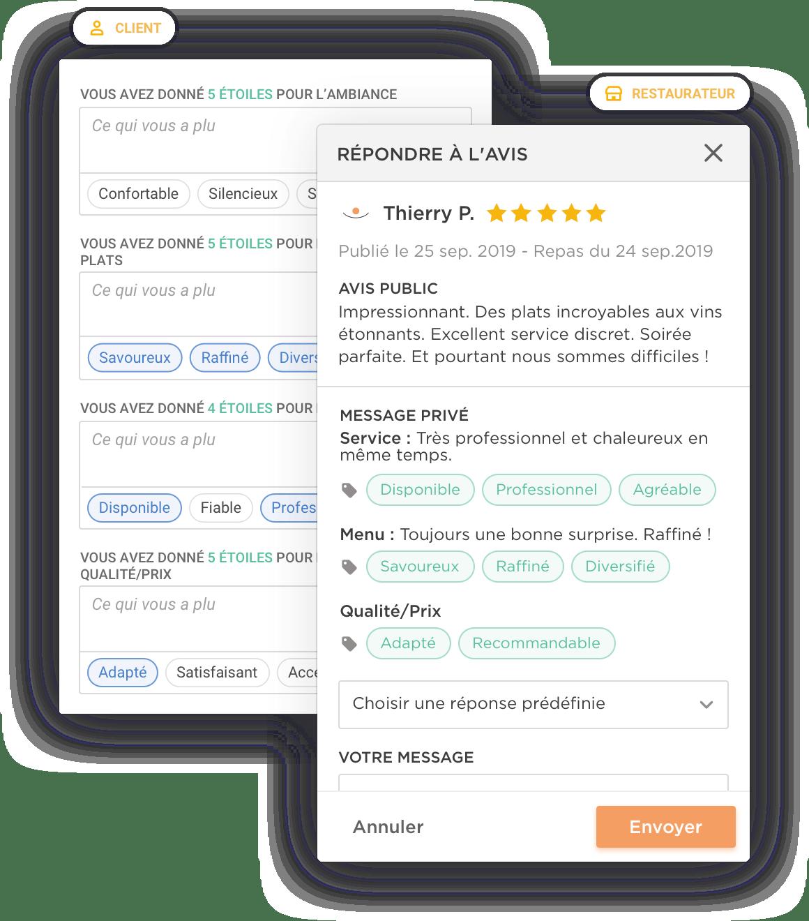 L'avis vérifié d'un client et le formulaire de satisfaction Zenchef