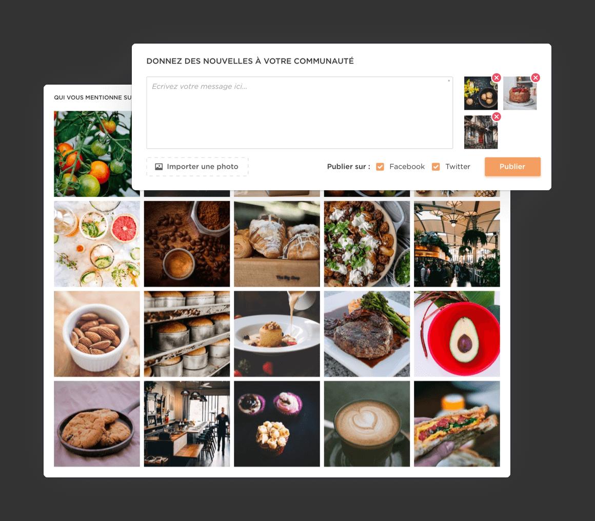 Les photos que vos clients ont pris de votre restaurant affichées sur le module Zenchef