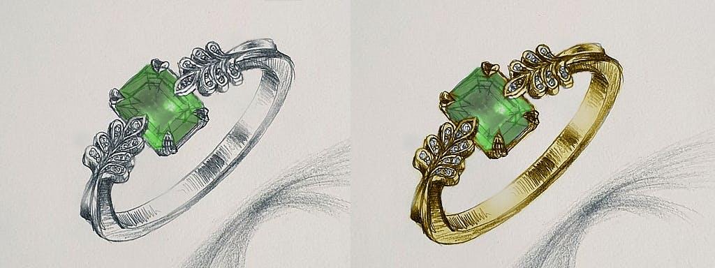 Ten sam pierścionek w dwóch rodzajach kruszcu.