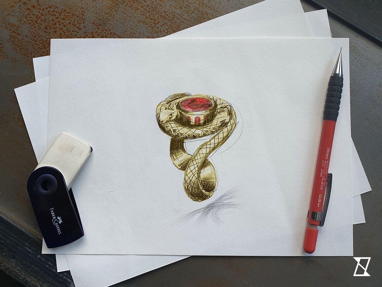 Projekt pierścionka z wężami i turmalinem.