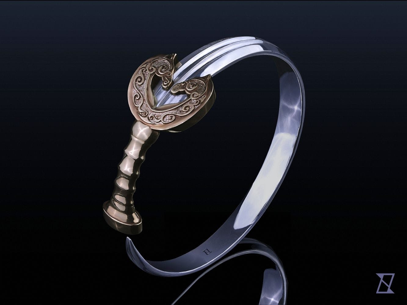 Bransoleta w kształcie zwiniętego miecza.