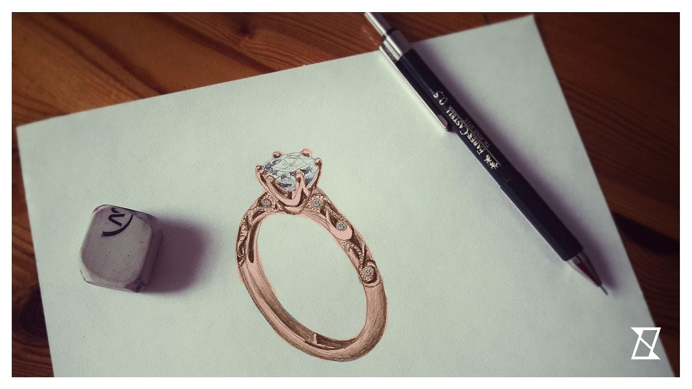 Autorski rysunek pierścionka.