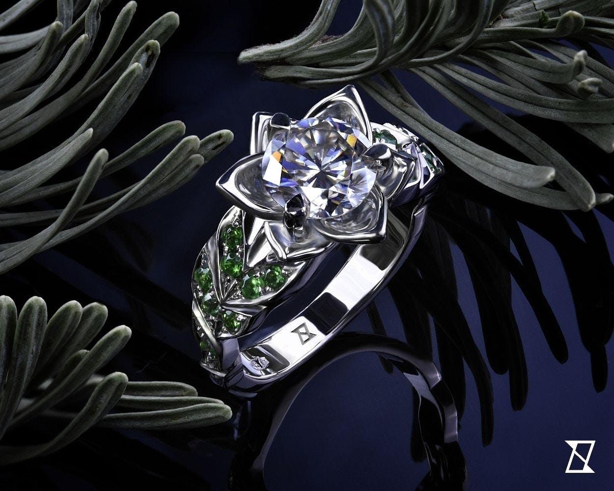 Kwiatowy pierścionek w białym złocie.