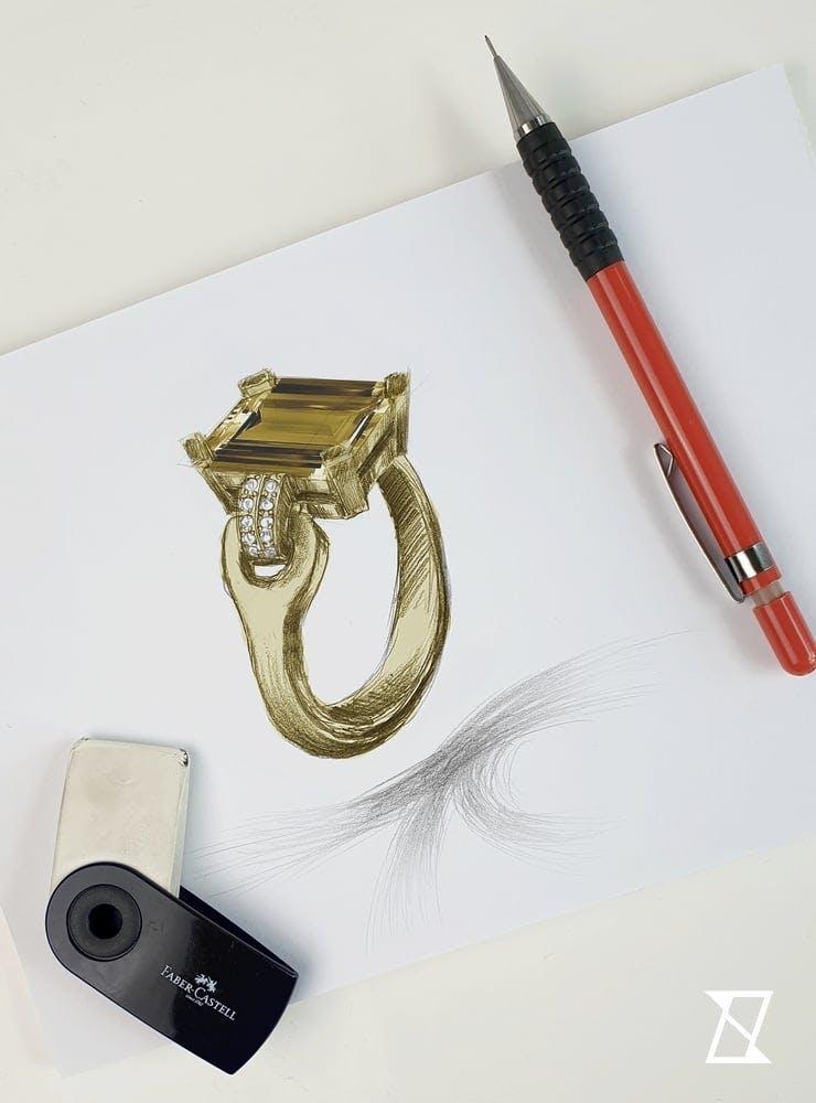 Rysunek koncepcyjny pierścionka na zamówienie.