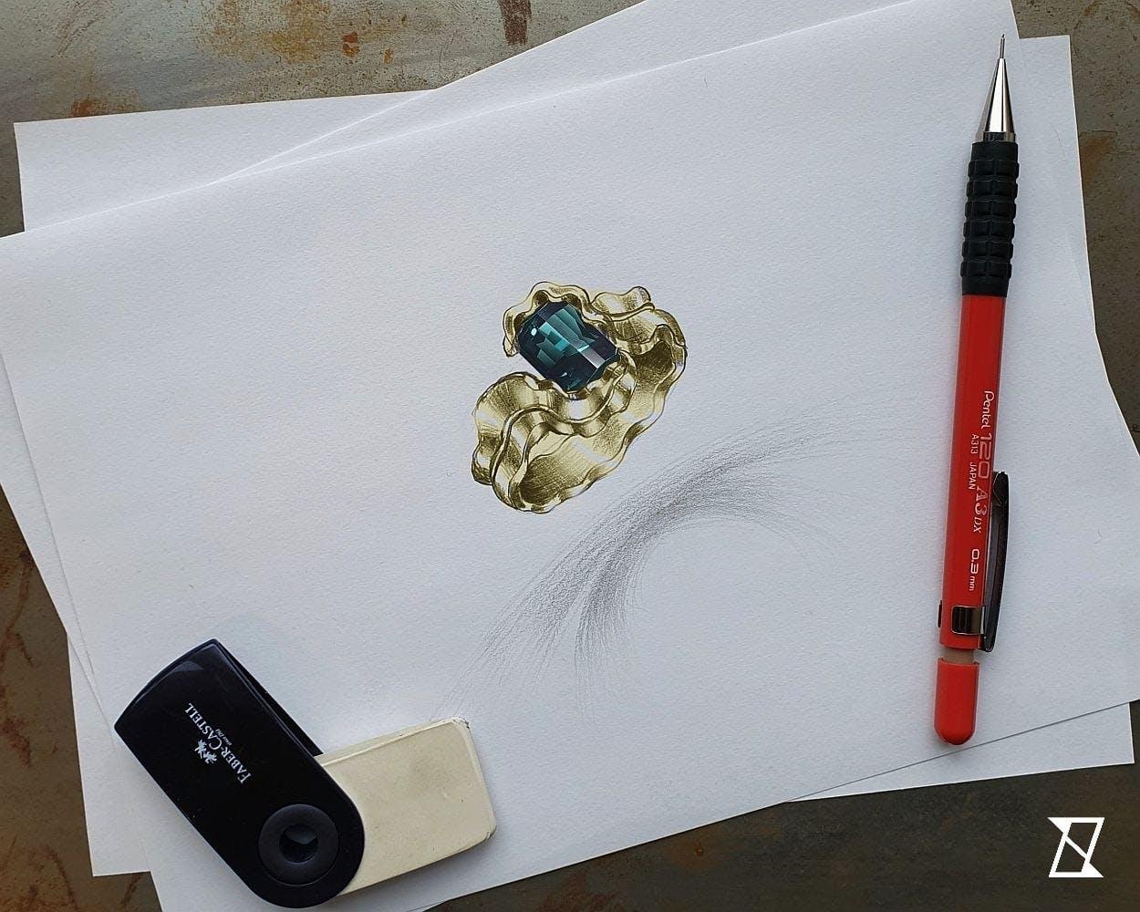 Wstępny projekt pierścionka z turmalinem indygo.