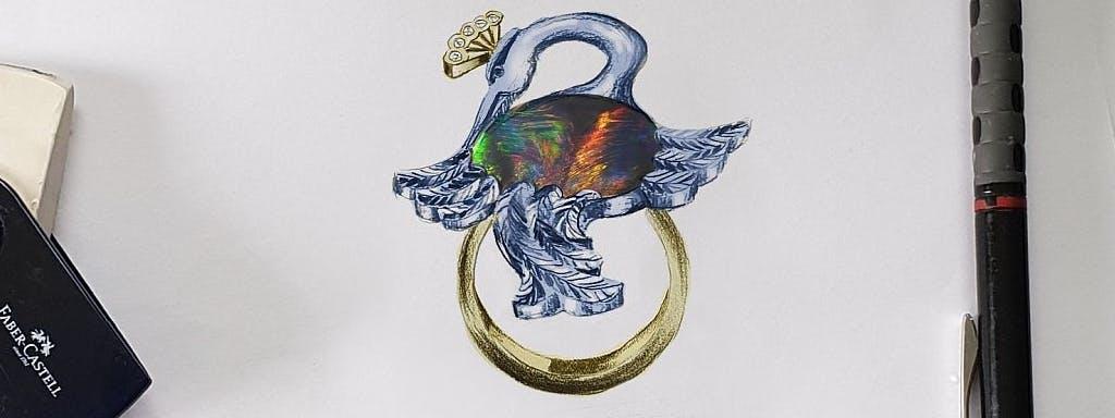 Pierścionek z żurawiem z czarnym opalem w dwukolorowym złocie z brylantami.