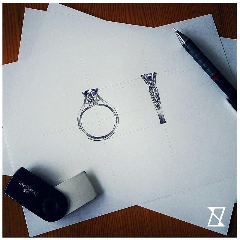 Indywidualny projekt pierścionka z podwójną obrączką.