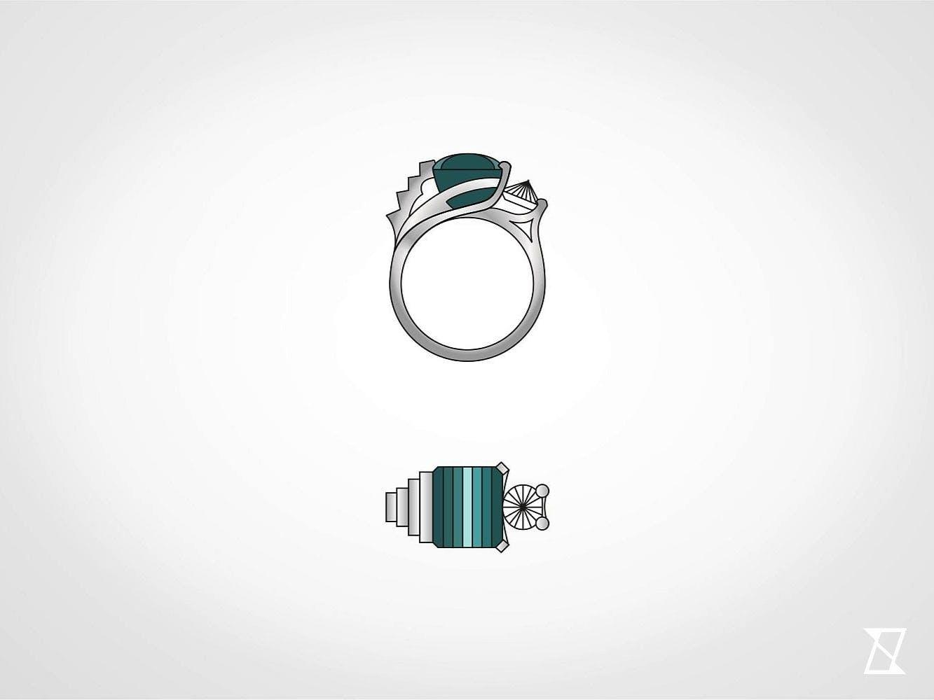 Ostateczny projekt pierścionka z architektonicznym sznytem.