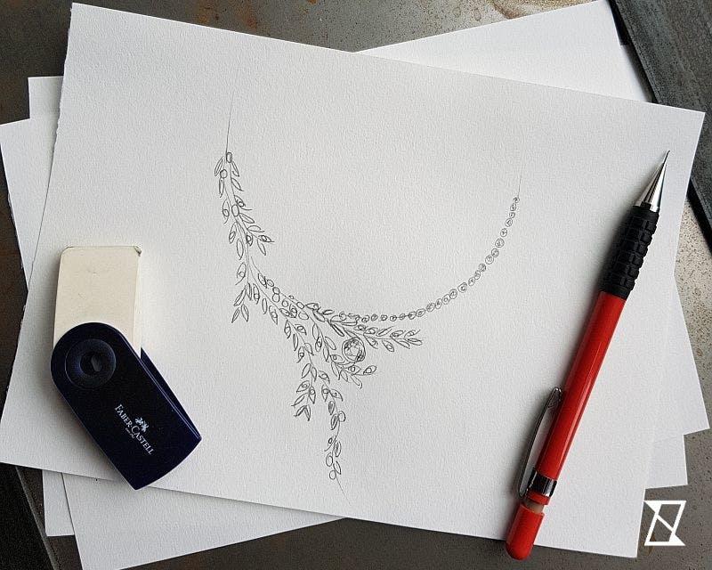 Projekt roślinnego naszyjnika w kształcie zwiniętych gałązek swobodnie opadających na dekolt.
