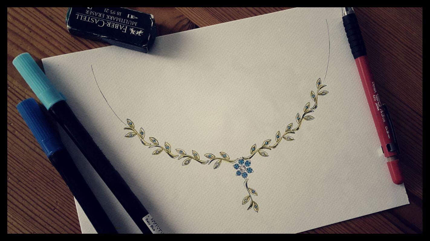 Projekt naszyjnika w kształcie kwiatu ostróżki.