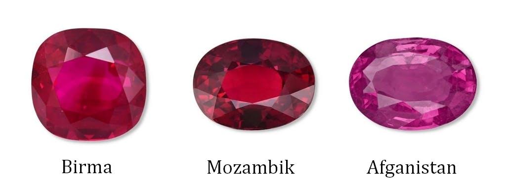 Kolory i inne parametry rubinów różnią się w zależności od pochodzenia.
