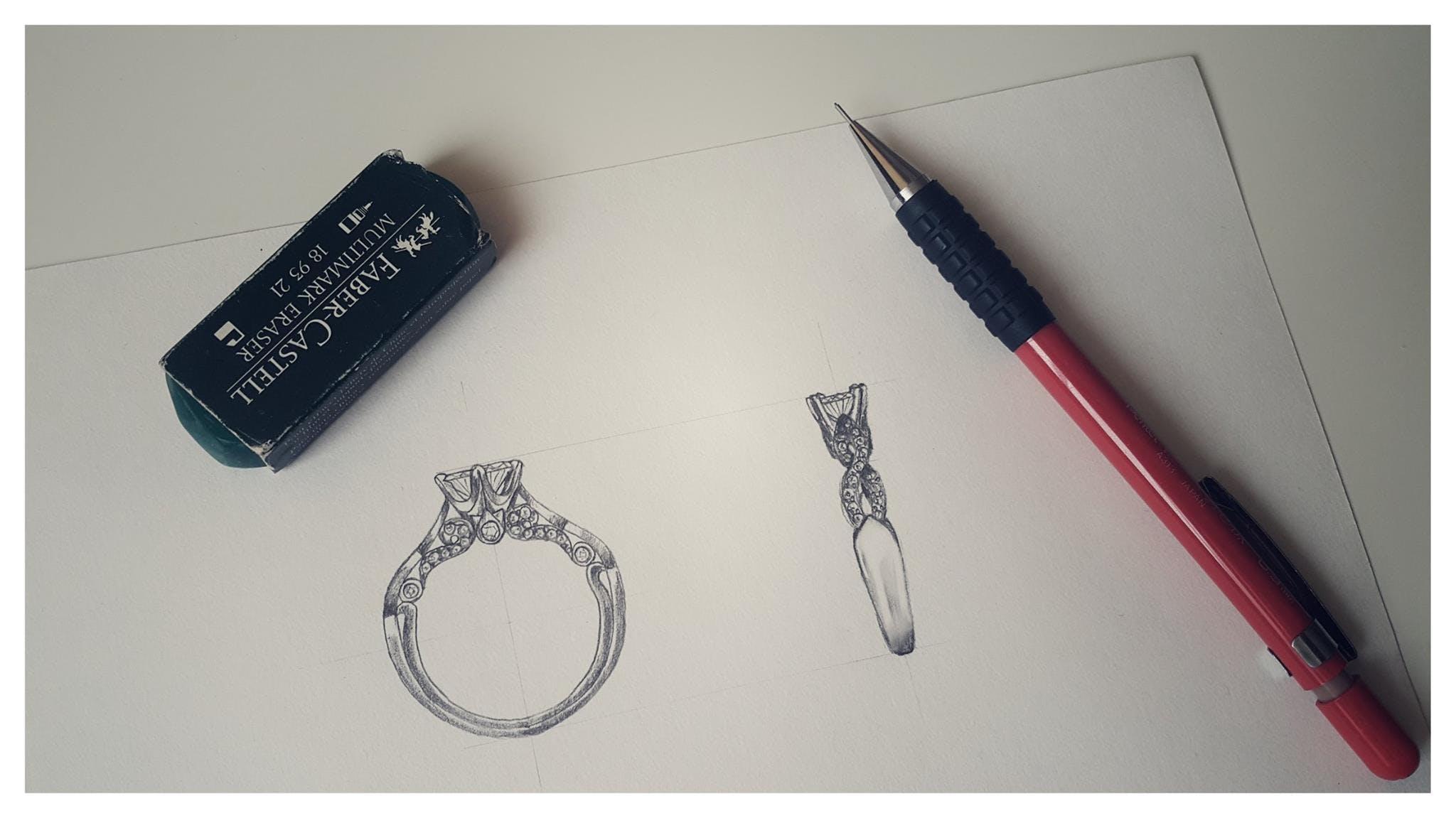 Indywidualny projekt barokowego pierścionka z diamentami.