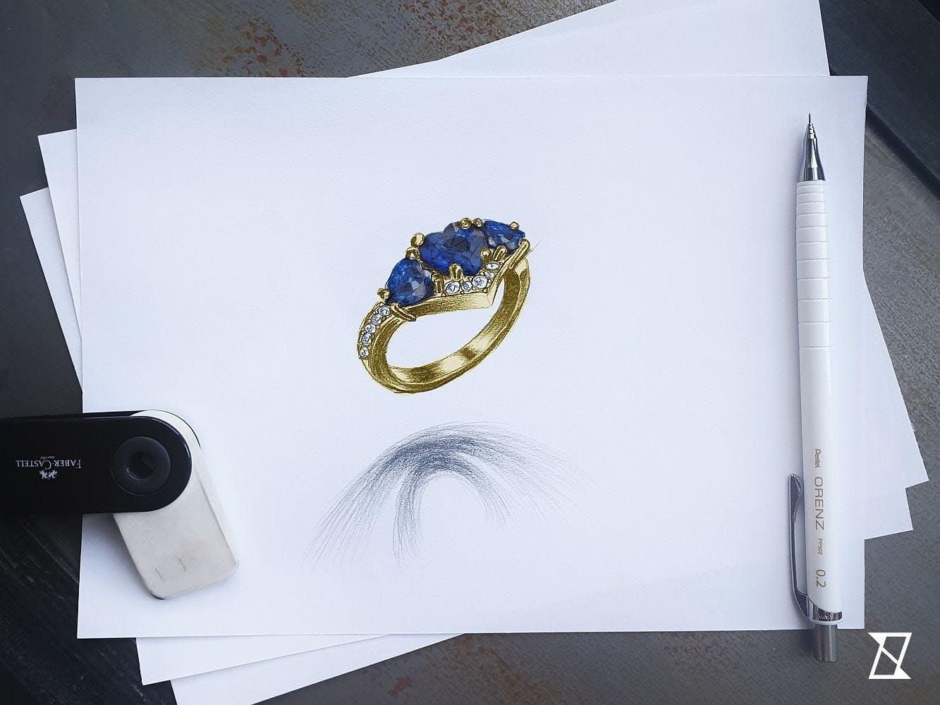 Projekt pierścionka wykonany na podstawie wytycznych klienta.