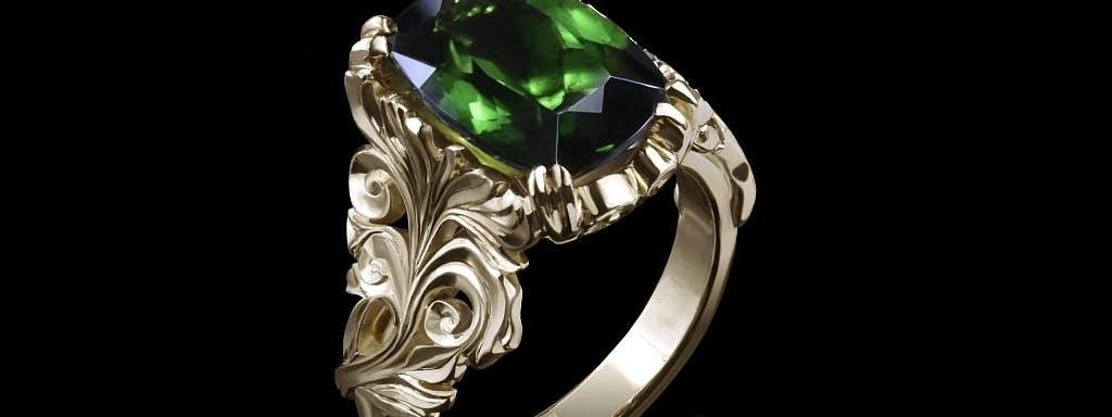 Roślinny pierścionek z zielonym turmalinem.
