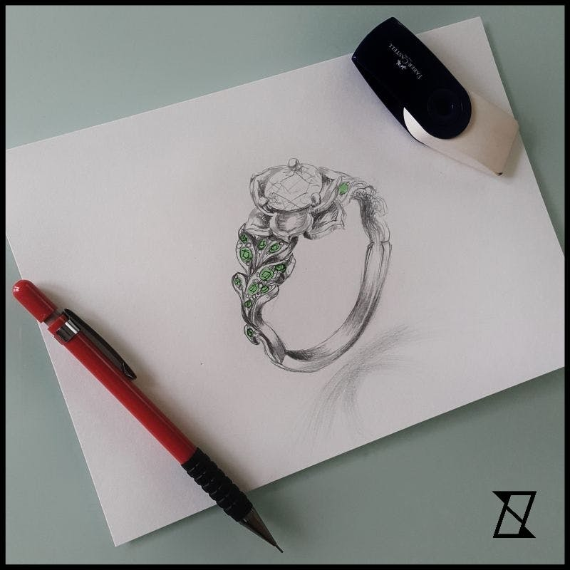 Projekt roślinnego pierścionka.